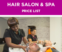 Hair Salon Spa Price List
